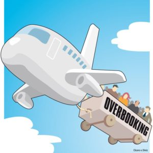 Vignetta divertente sull'overbooking :un aereo con agganciato un rimorchio zeppo di passeggeri