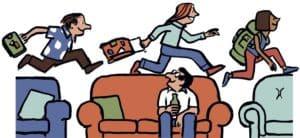 Vignetta simpatica sul couchsurfing:persone che saltano da un divano alla'altro con la valigia in mano