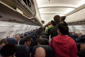 Passeggere su un aereo