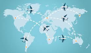 Mappa con figure di aerei che sorvolano il mondo