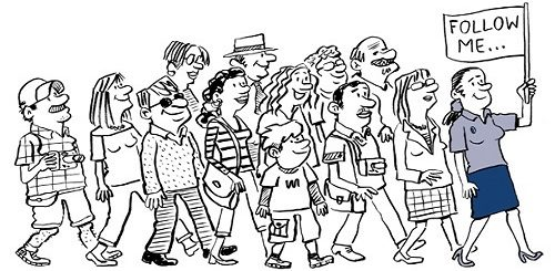Vignetta raffigurante una guida turistica con un cartello follow me