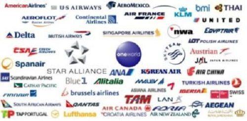 i loghi di molte compagnie aeree