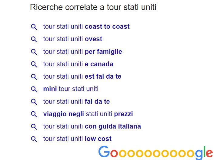 Schermata Ricerche Correlate Google -SEO e Turismo