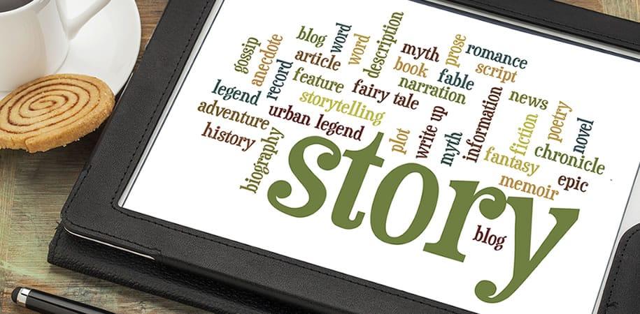 Diegno con all'interno ta nti termini riferiti allo storytelling
